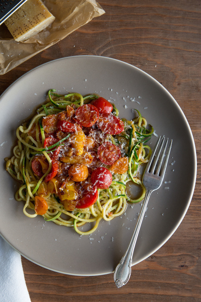 Zucchini Noodles with Blistered Tomatoes   Chez Us