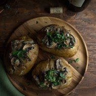 Mushroom Stroganoff Stuffed Baked Potatoes
