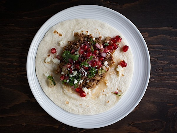 Slow Cooker Harissa Lamb Tacos with Pomegranate Salsa