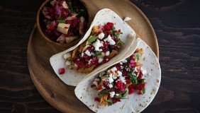 Leftover Turkey Tacos with Cranberry Avocado Salsa