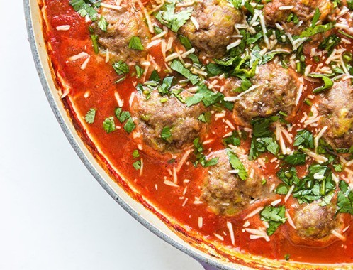 Easy-Tomato-Baked-Meatballs-with-Polenta-from-Real-Food-by-Dad