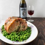 Roasted Pork Loin Roast with Sweet Peas