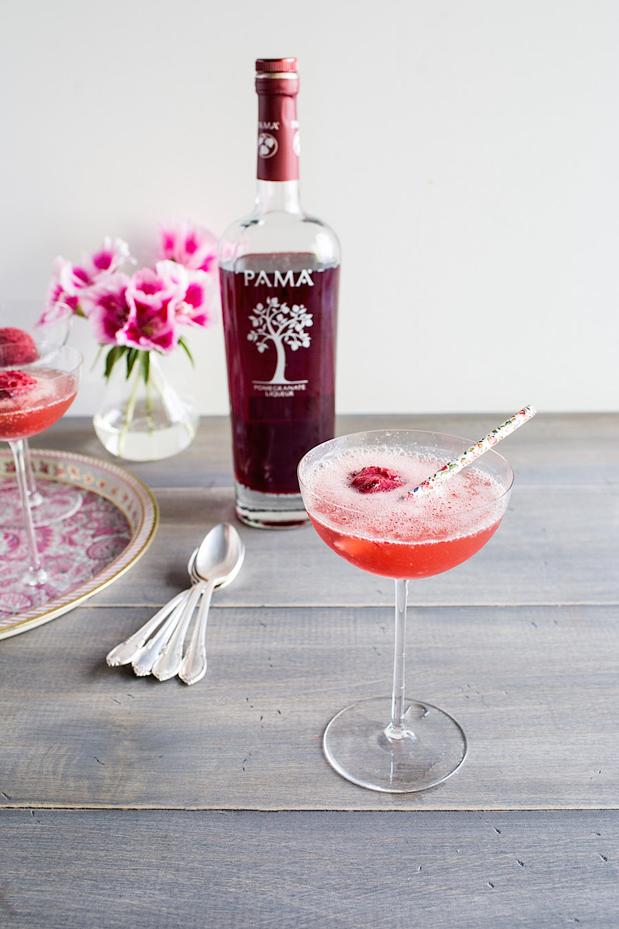Cherry PAMA Liqueur Sorbet Floats
