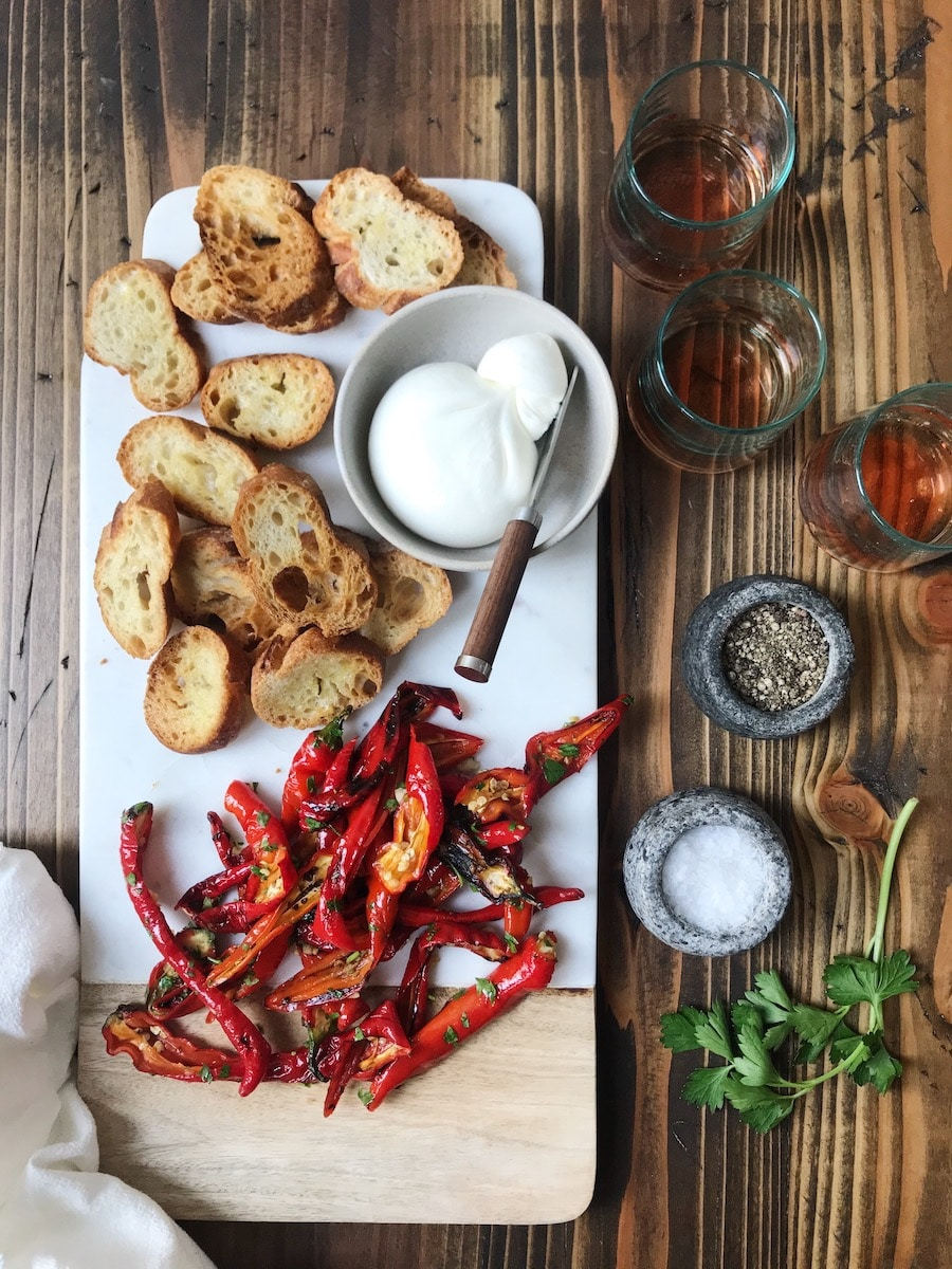 Jimmy Nardello Peppers with Burrata