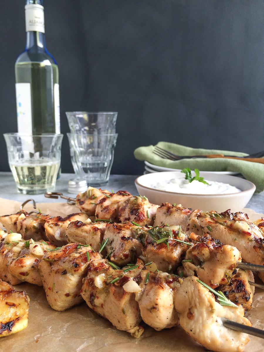 Greek Style Lemon Chicken Skewers
