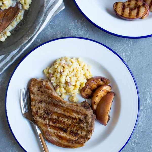Grilled Harissa Peach Pork Chops