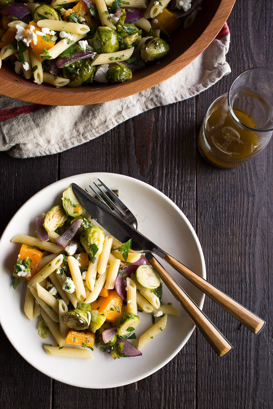 Roasted Brussels Sprouts and Butternut Squash Pasta Salad