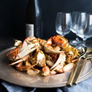 Roasted Harissa Garlic Crab