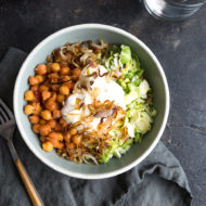 Saffron Tomato Chickpeas and Brussels Sprout Bowls