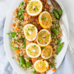 Roasted Harissa Lemon Sablefish with Spring Time Couscous