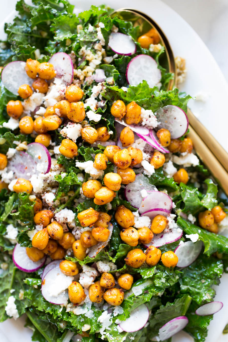 Freekeh Kale Salad with Crispy Harissa Chickpeas