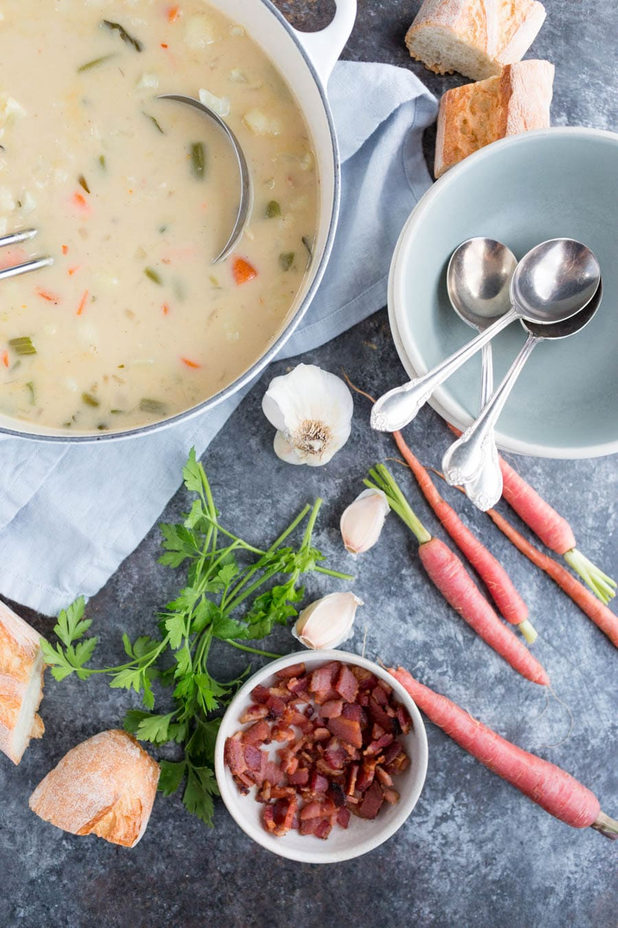 Cauliflower Clam Chowder with Crispy Bacon