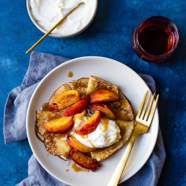 Crepes Dentelles with Sautéed Peaches and Caramel
