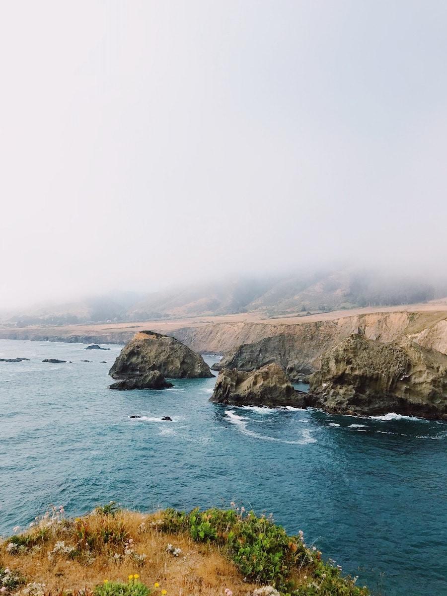 Mendocino Coastline in the fog