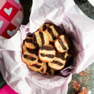 Chocolate Vanilla Striped Shortbread Cookies