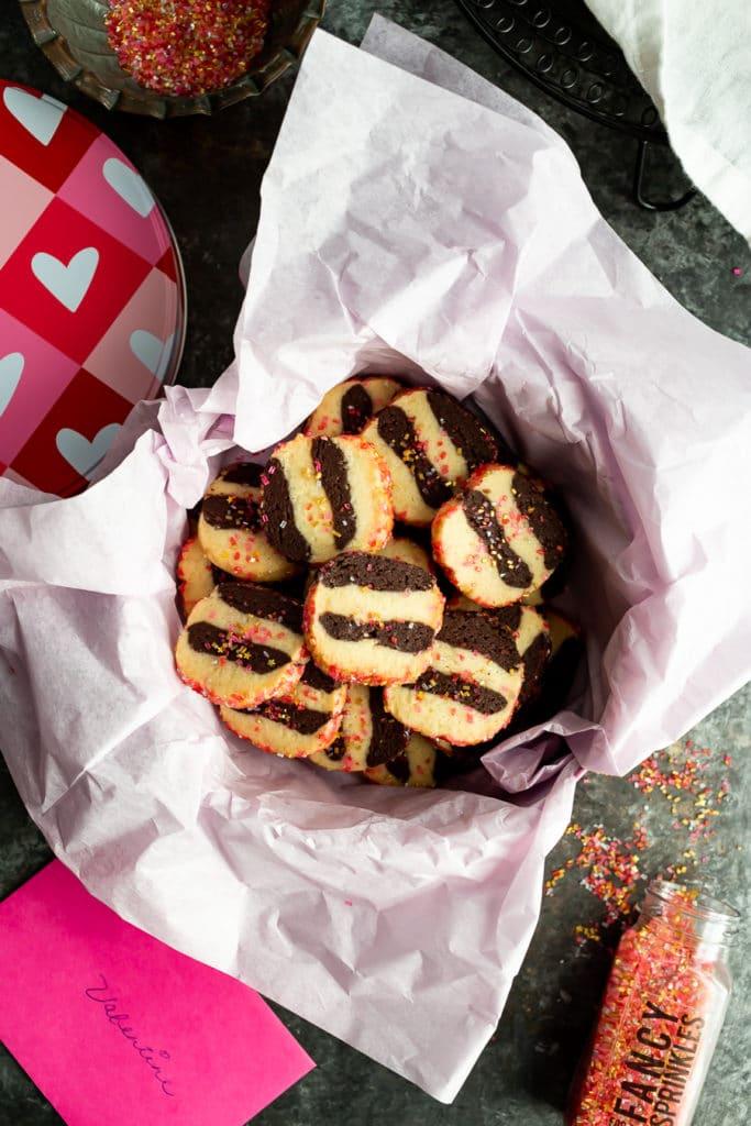 Chocolate Vanilla Striped Shortbread Cookies