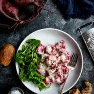 Roasted Beet Gnocchi with Gorgonzola Mascarpone Sauce