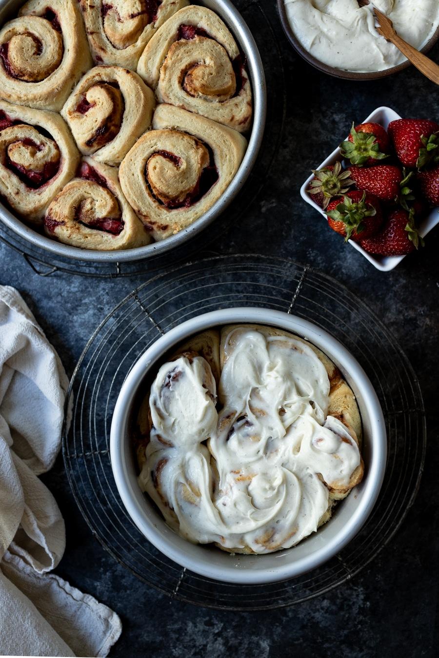 Strawberries and Cream Sweet Rolls