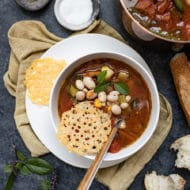 Minestrone with Parmesan Crisps