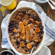 Caramelized Banana Blueberry Baked Oatmeal